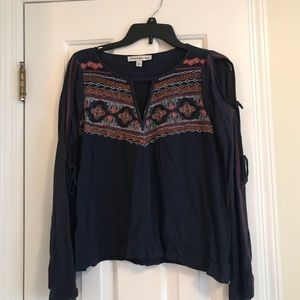 Abercrombie embroidered tie-sleeve top